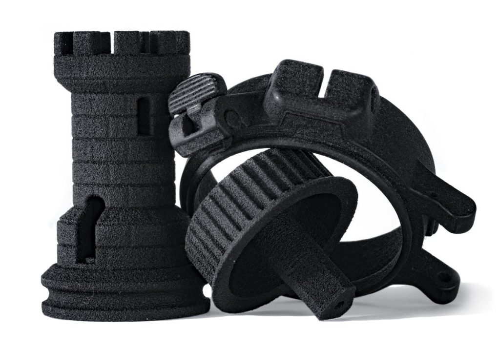 3D printed parts made from Structured Polymers True Black Nylon 12. Photo via Structured Polymers