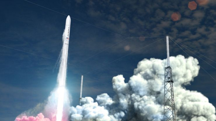A graphic rendition of the launch of Terran 1. Image via Relativity Space.