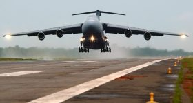 A C-5 Galaxy taking off from the Travis Air Force Base, California. Image via U.S. Air Force/Tech. Sgt. Justin D. Pyle