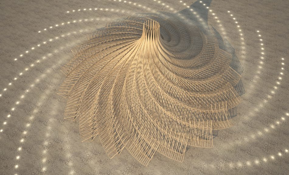 The Galaxia Temple for Burning Man 2018. Image via Mamou-Mani.
