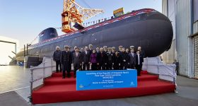 Launching ceremony of the Class 218SG submarine Invincible. Photo via Thyssenkrupp.