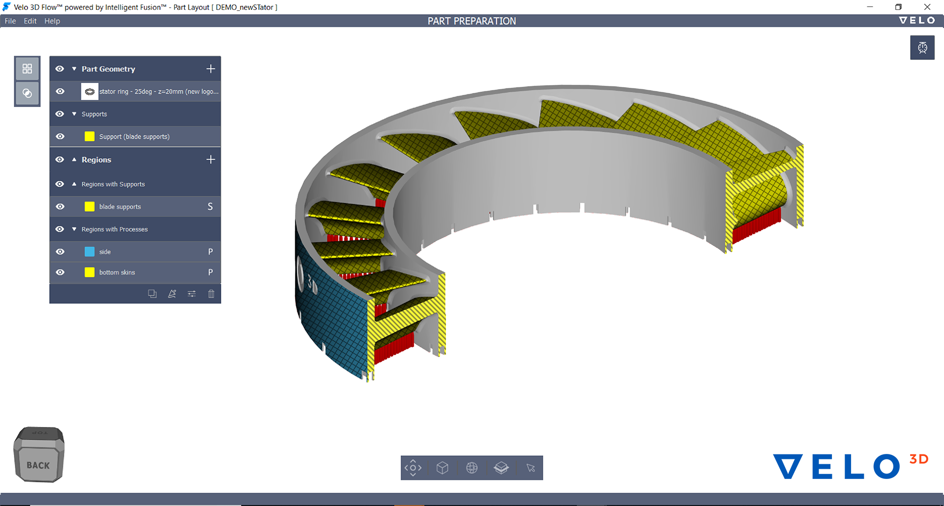 Flow is a simulation driven, process aware print preparation software. Flow ensures predictable print outcomes while reducing print preparation time. Image via VELO3D.