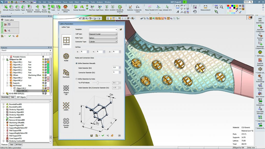 Lattice work modeled in 3D Systems 3D Expert. Image via 3D Systems