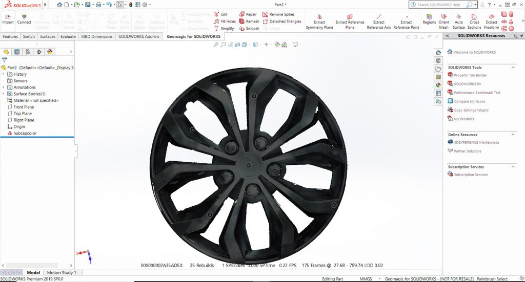 Hubcap in Geomagic for SOLIDWORKS 2019. Image via 3D Systems