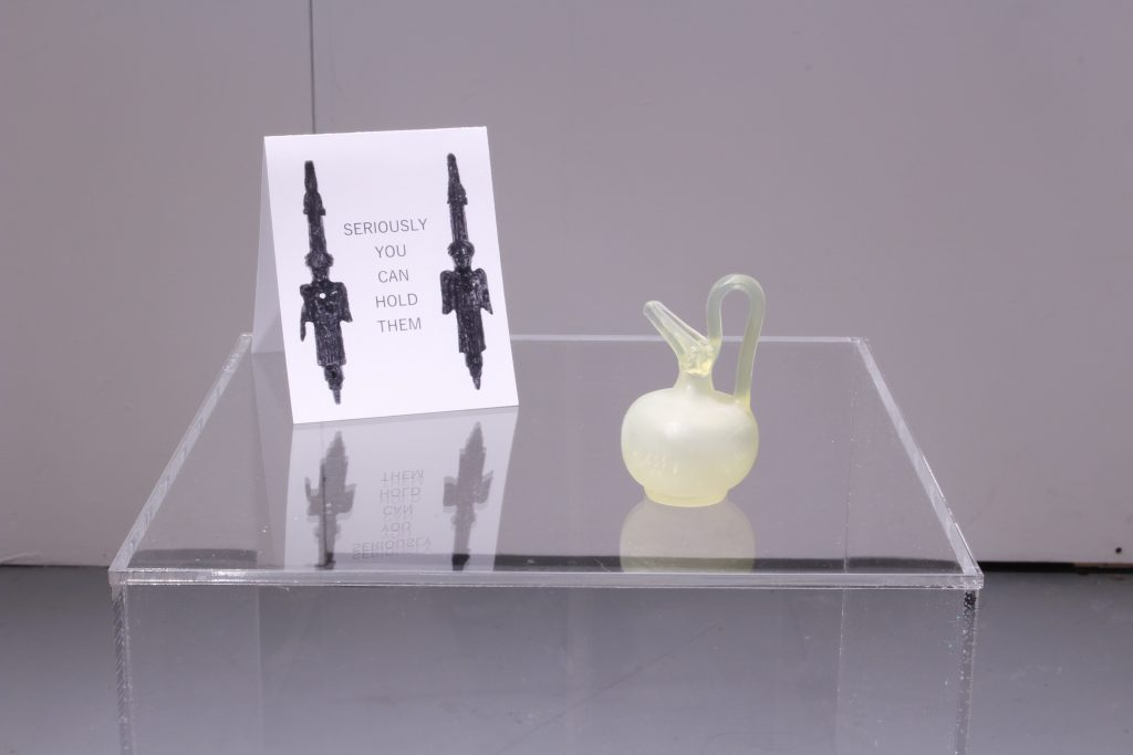 A small, 3D printed Epichysis jug inviting people to touch. Photo courtesy of the artist.