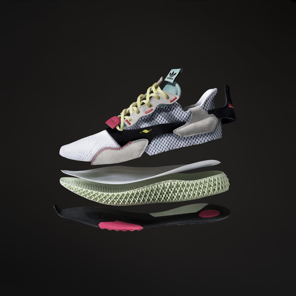 The ZX 4000 4D shoes featuring a Carbon 3D printed midsole. Image via Adidas.