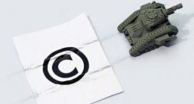 A 3D printed tank next to a copyright symbol. Image via SOURCE3.
