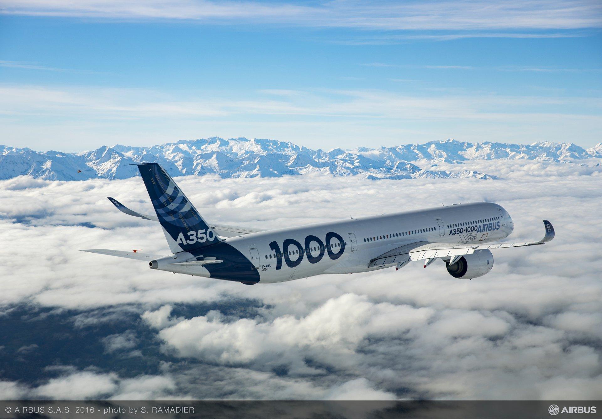 An Airbus XWB A350-1000 aircraft. Photo by S. Ramadier, Airbus