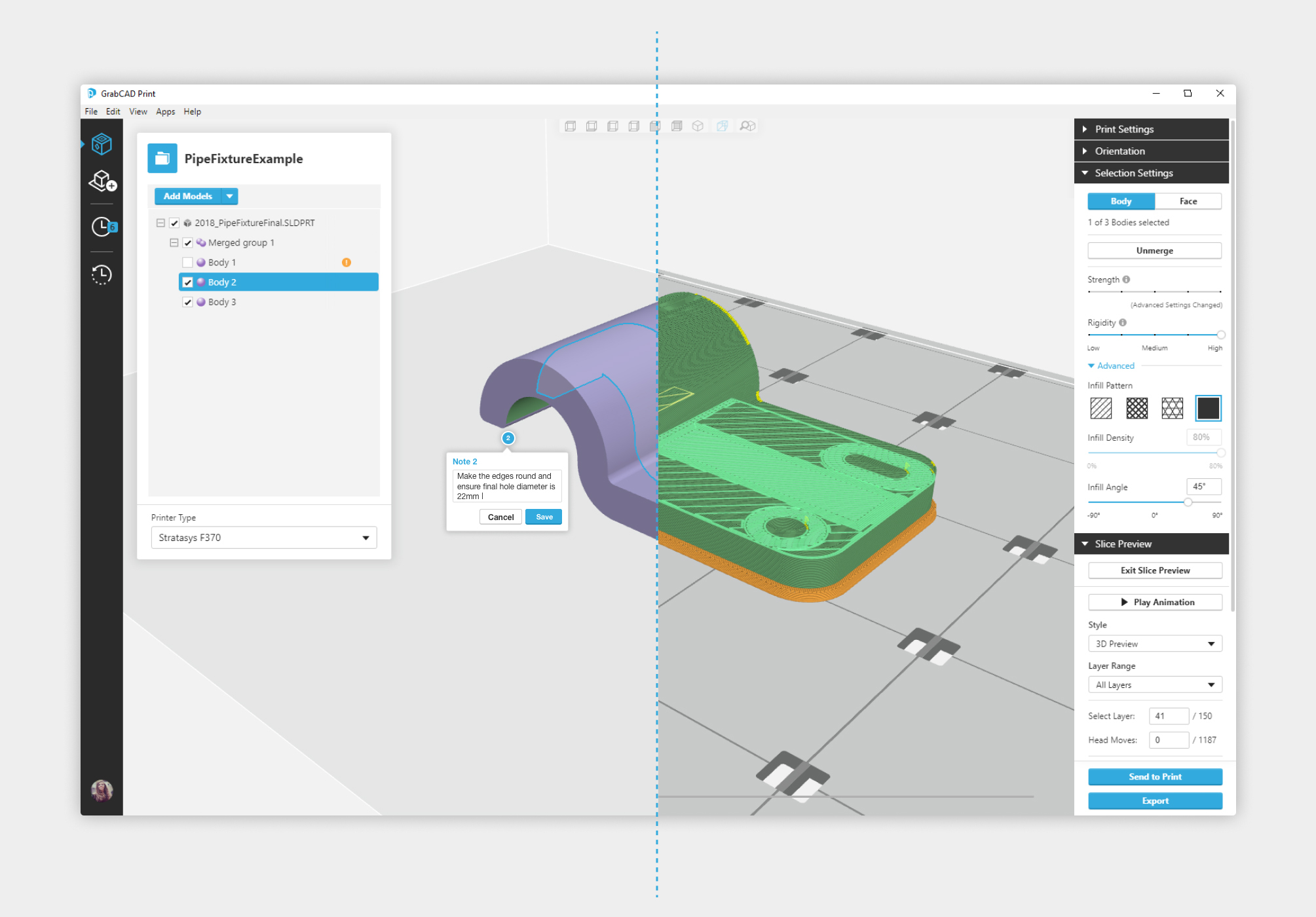 GrabCAD Print Advanced FDM for creating machine toolpath. Image via GrabCAD.