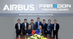 Dr. Xu Xiaoshu, Founder and Chairman of Farsoon (front, left) and Michel Tran Van, General Manager of Airbus Beijing (front, right) are joined by colleagues as R&D agreement is signed. Photo via Farsoon Technologies.