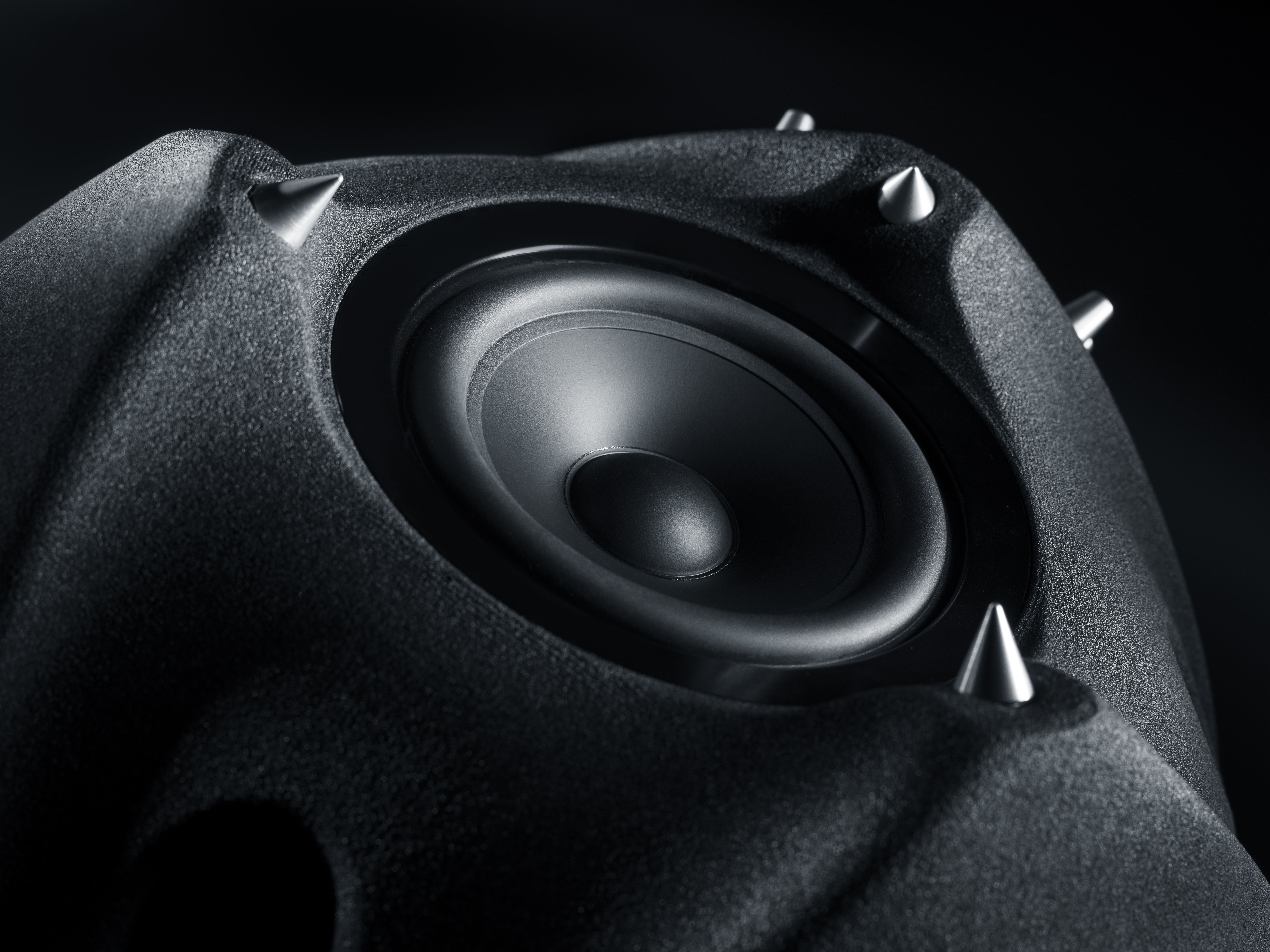 The 3D sand printed sub-woofer, part of the Ionic Sound System. Image via DEEPTIME.