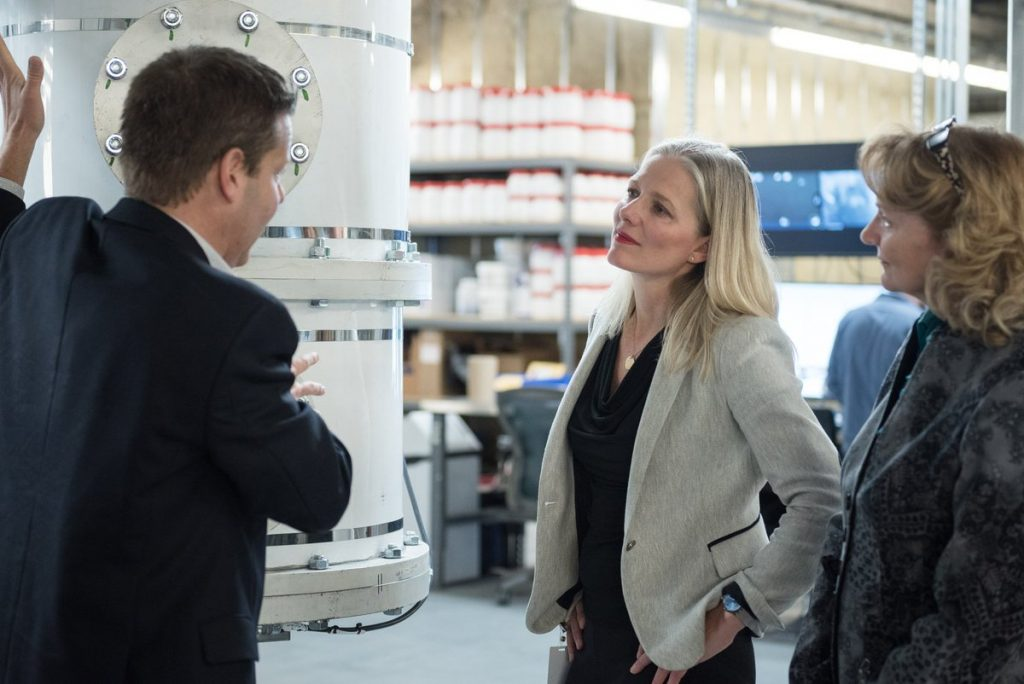 "For its environmental efforts, Equispheres was also recently visited by Catherine McKenna, Canada's Minister of Environment and Climate Change pictured above, who called it ""an amazing Ottawa-area cleantech company."" Photo via Karen McCrimmon"