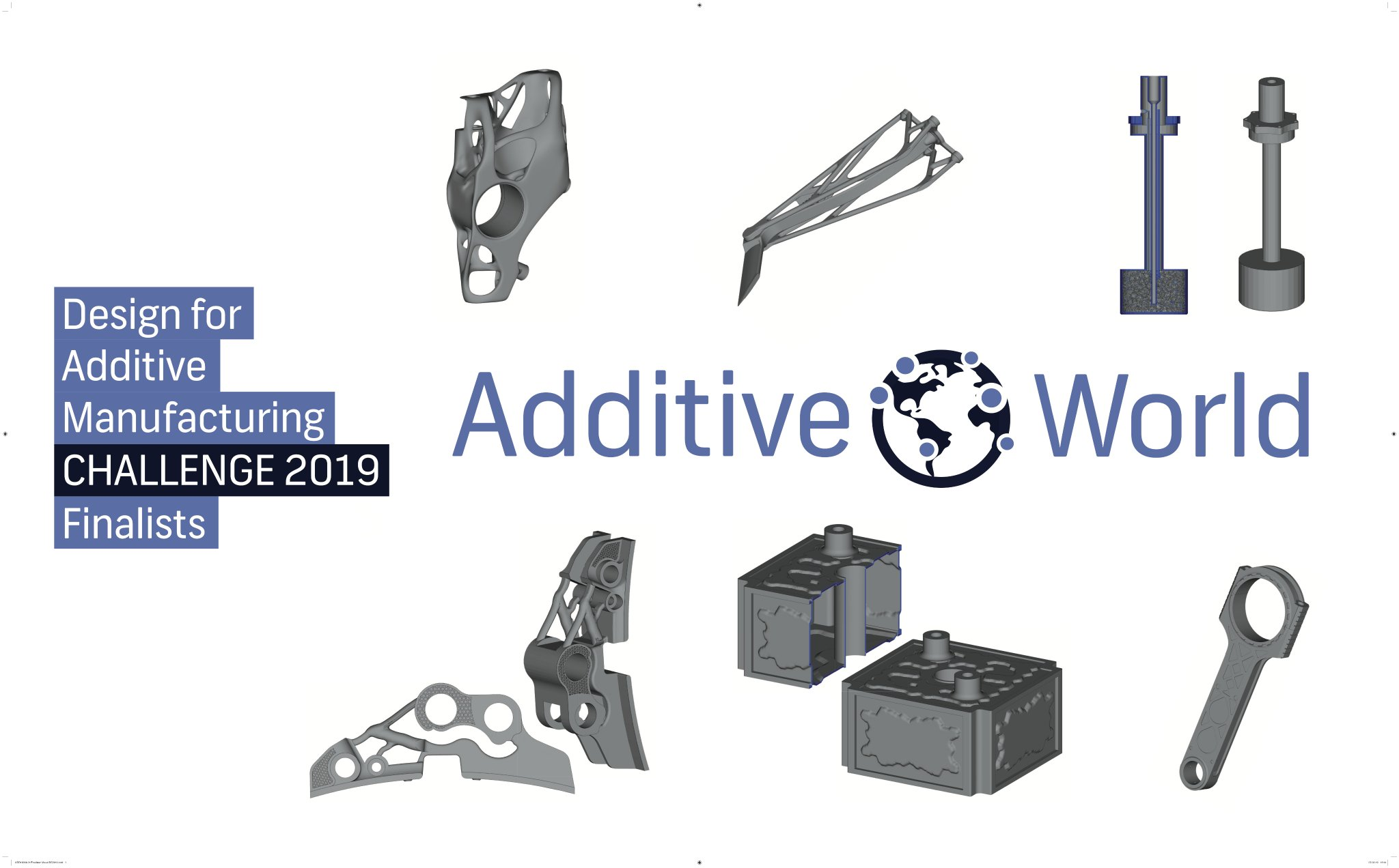 Redesigns of the finalists for the Additive World Design for Additive Manufacturing Challenge 2019. Image via Additive Industries.