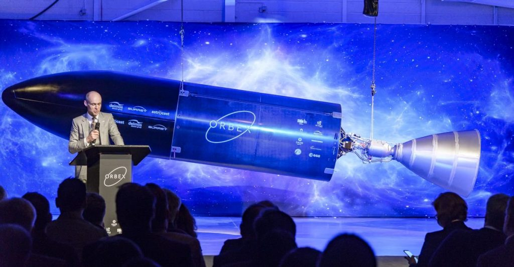 Graham Turnock, Chief Executive of the UK Space Agency, speaks at the inauguration of the Prime rocket. Photo via Orbex