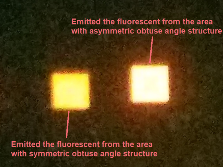 Comparison of light emitted by symmetrical and asymmetrical pyramid microstructures. Image via Penn State