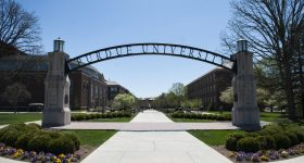 The main entrance of the Purdue University. Photo via Matthew Thomas/Purdue University.