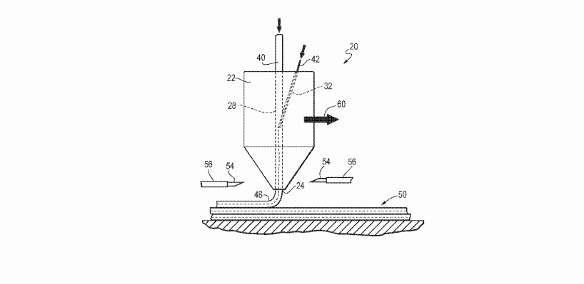 Patent drawing, figure 1, of a composite material depositing nozzle. Image via US10173410, awarded to Northrop Grumman.