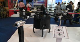 The Heavy-Lift Hybrid Drone being displayed at Aero India 2019. Photo via INTECH DMLS.