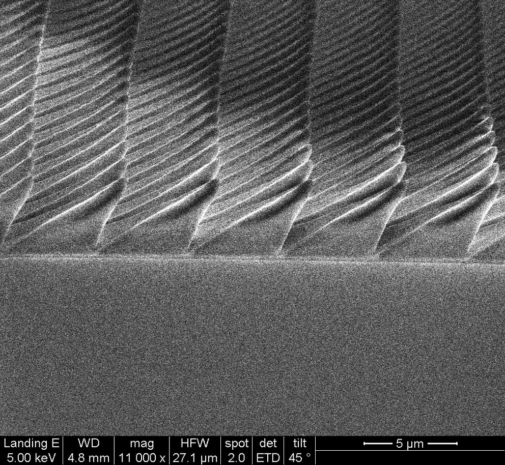 Example 3D printed, asymmetric pyramid microstucture. SEM image via Penn State