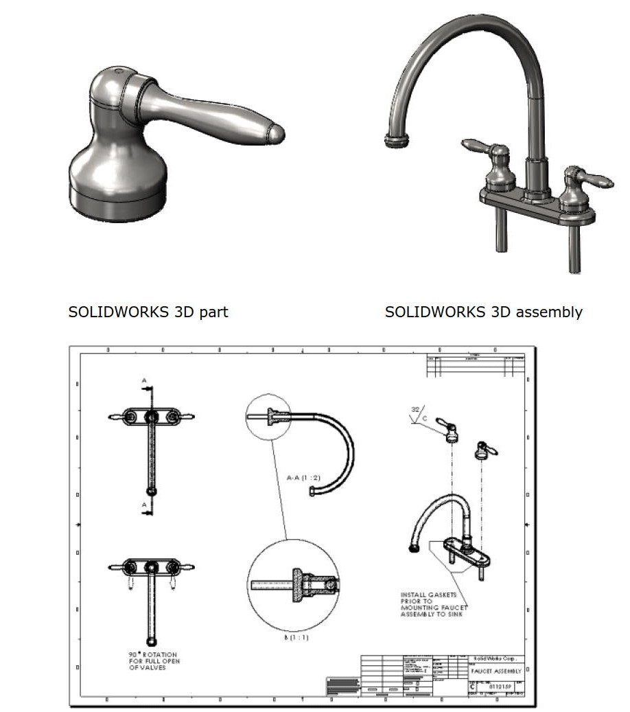 3D model and 2D drawings in SolidWorks. Image via SolidWorks