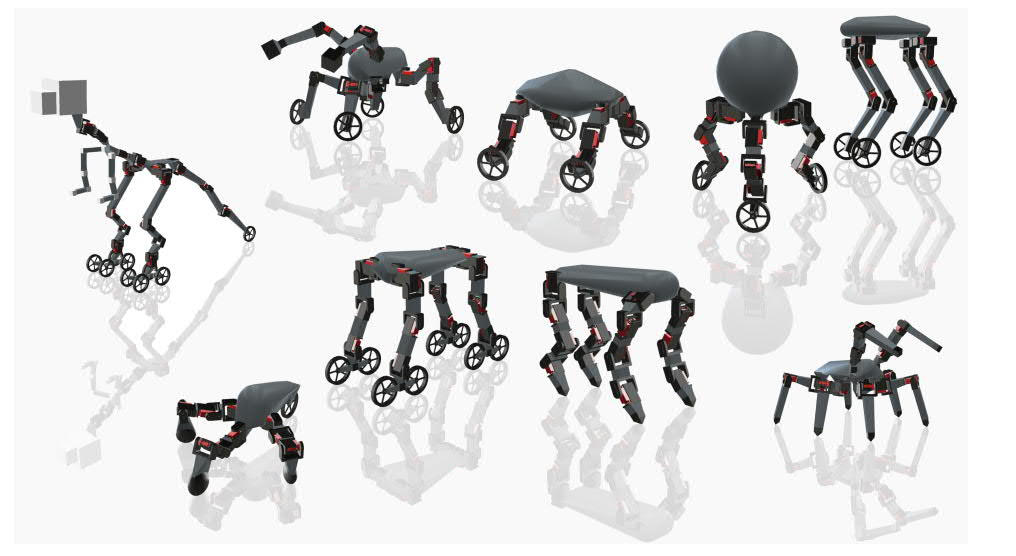 Design variations of Skaterbot with modified limbs. Image via ACM Transactions on Graphics.