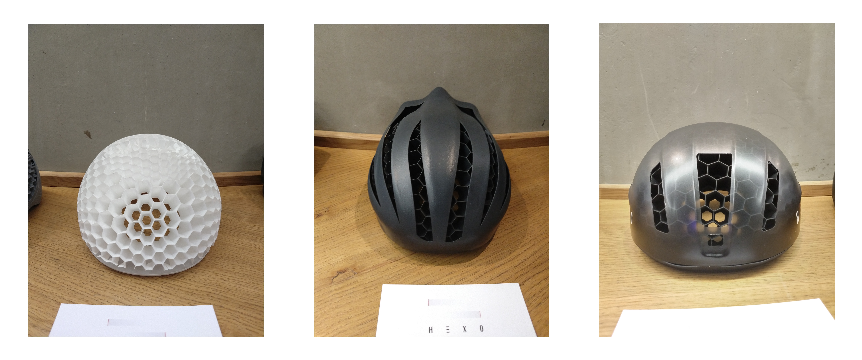 The Hexo Helmet 3D printed Honeycomb structure (left), an prototype of the helmet featuring air vents (middle), and the final design of the helmet (right).