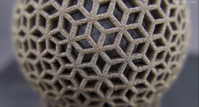 Rhombus ball printed with the S-Titanium Pro. Screengrab via Aurora Labs.