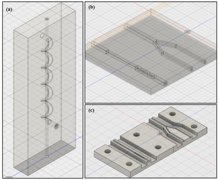 Microchips incorporating classic microfluidic features, designed using Fusion 360 software: (a) full-block enclosed channels with sharp bends, (b) full-block, enclosed, rectangular channels which change in dimension as fluid moves through them, and Y-channels (c) half-block straight rectangular channels and Y-channels, as for (b). Image via UCD.