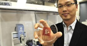 Professor Woo Soo Kim holds a 3D printed cellulose-based sensor. Photo via SFU
