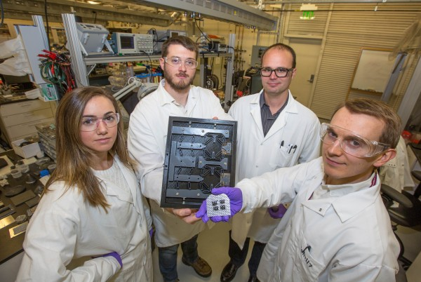 LLNL researchers, (from L-R) Julie Jackson Mancini, Logan Bekker, Andy Pascall, and Robert Panas. Photo courtesy of Julie Russell/LLNL.