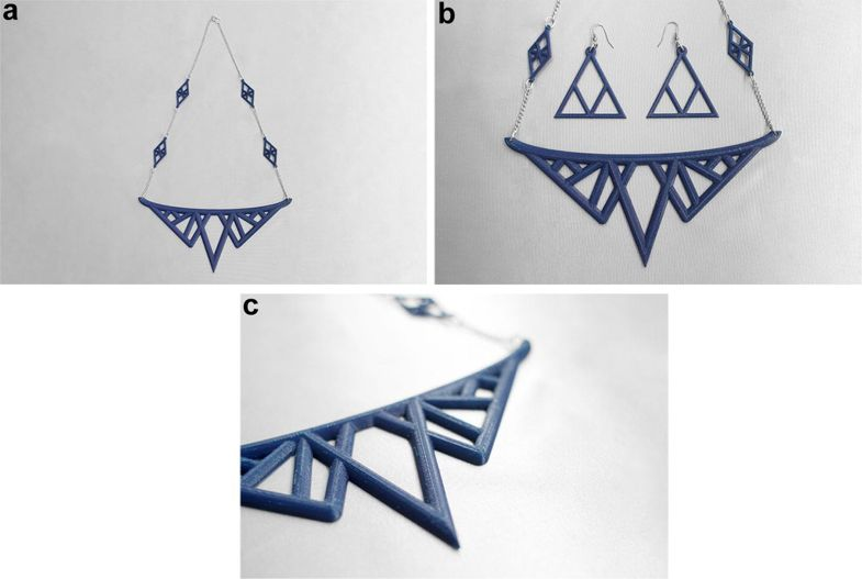 a) Jewelry pendant design 1(blue color PLA filament). b) Jewelry pendant design 1 with earrings. c) Zoomed view of jewelry pendant design. Image via St. Catherine University.