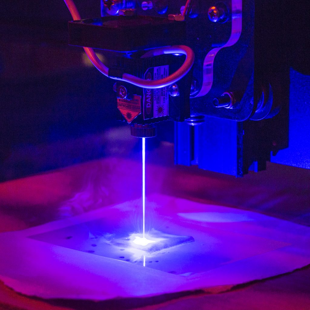 Dough baked by a blue laser. Photo credit Jonathan Blutinger Columbia Engineering