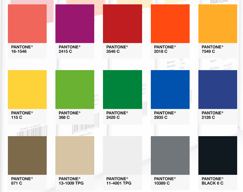 Pantone Matching System colors available as FiberForce filaments. Screengrab via FiberForce