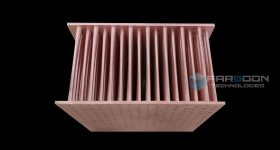 A pure copper 3D printed heat exchanger. Image via Farsoon Technologies