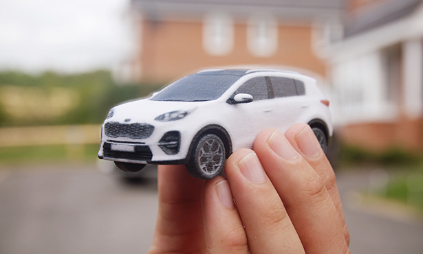 A fully assembled 3D printed Kia Sportage. Image via mobedia.