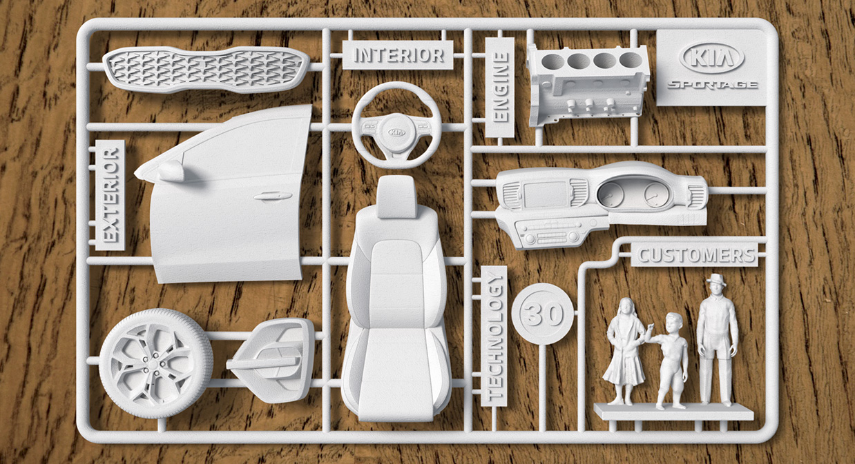 The assembly kit of Kia Sportage. Image via mobedia.