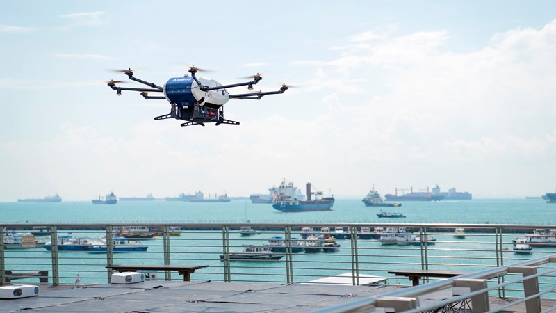 The Airbus Skyways drone lifting off. Photo via Wilhelmsen.