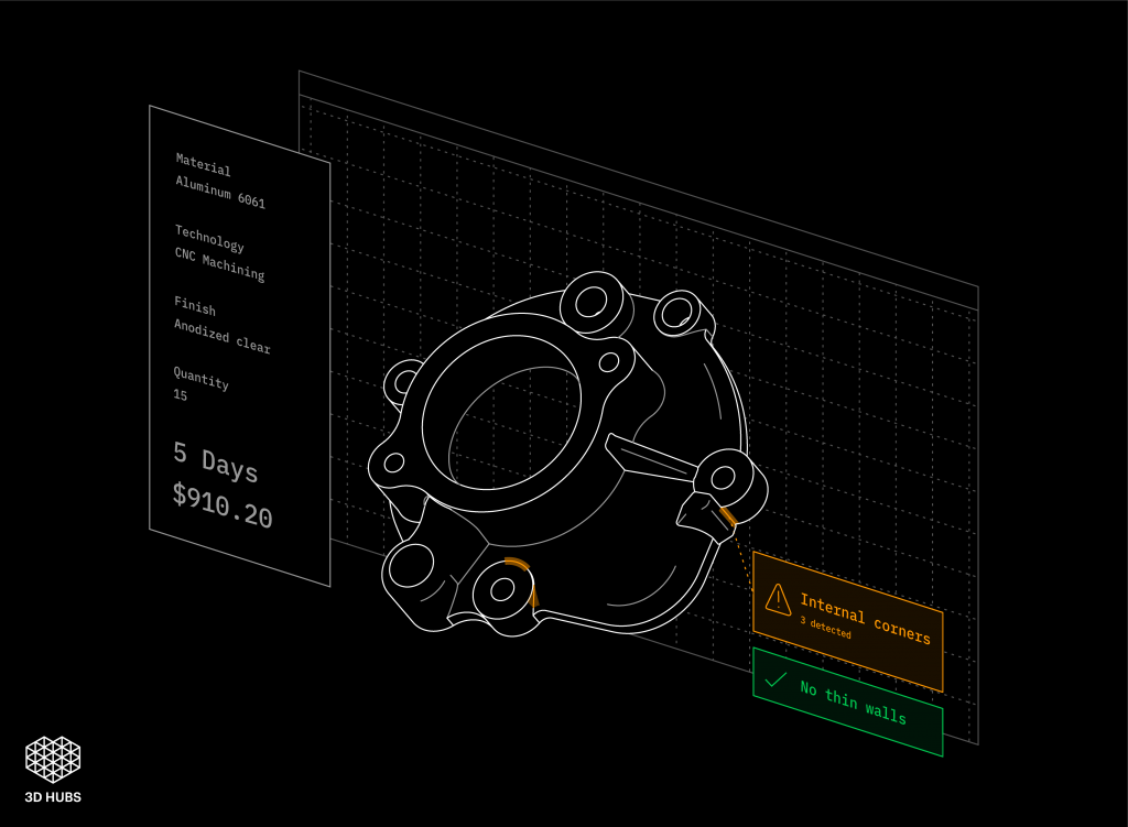 Demonstration of 3D Hubs Design For Manufacture software. Image via 3D Hubs
