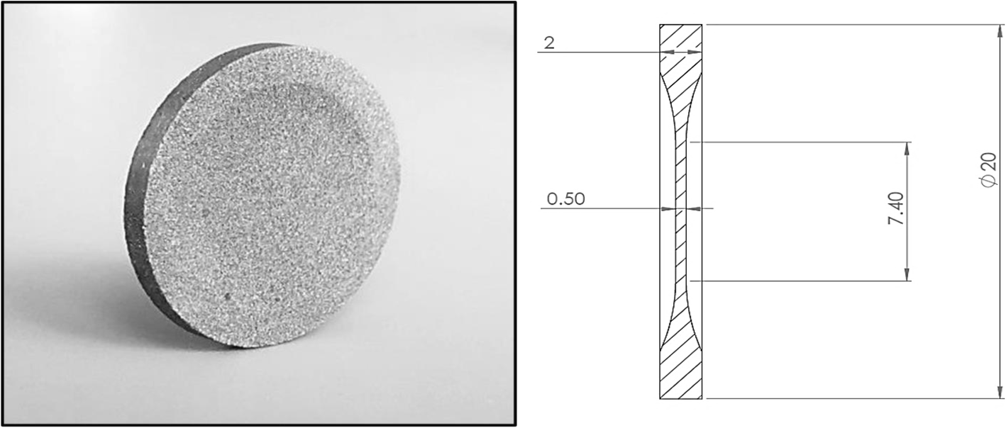 Photograph of the 3D printed disk and schematic diagram of disk dimensions. Image via ICR.