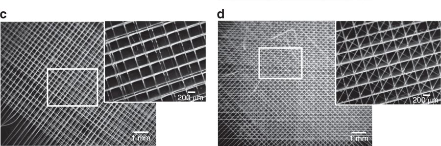 "c) 3D woven fibrous mesh with ""0–90°"" pore microarchitecture fabricated with direct melt electrowriting (MEW). The sample is designated MEW