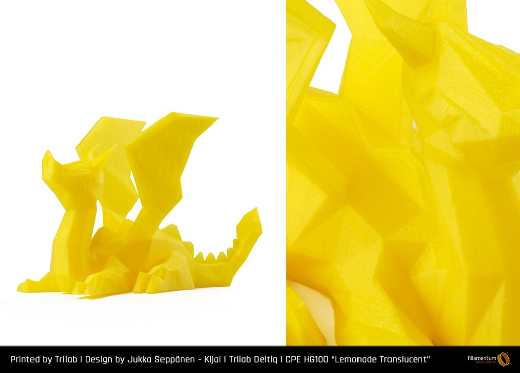 Low poly dragon design by Jukka Sepponen, made in Lemonade Translucent. Photo via Fillamentum