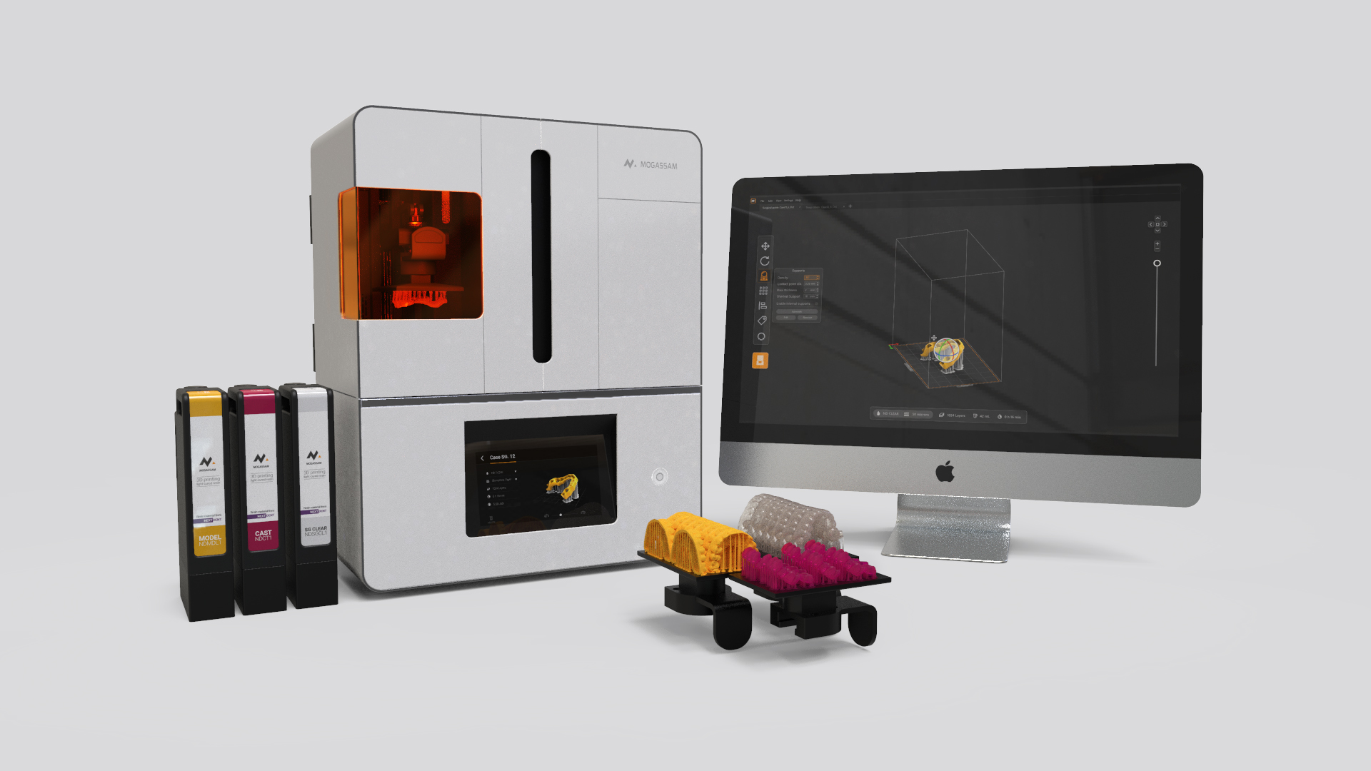 The DentCase 3D printer offers a complete dental printing workflow. Image via Mogassam.