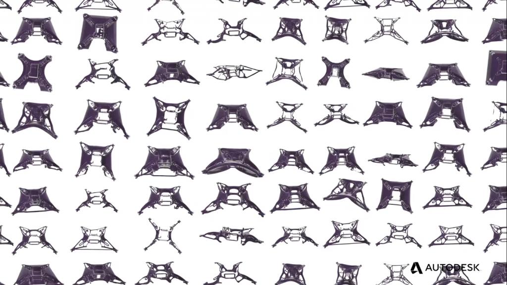 Different permutations of a design in Generative Design technology. Screengrab via Autodesk.