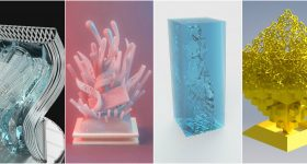 First from left: Sruthi Venkatest's winning design for the 2018 3D Printing Industry Awards Trophy. Remaining designs, from left to right: Selection of 2018 Trophy Design entries by Devin Montes, R.B. and Giorgio Garbujo.