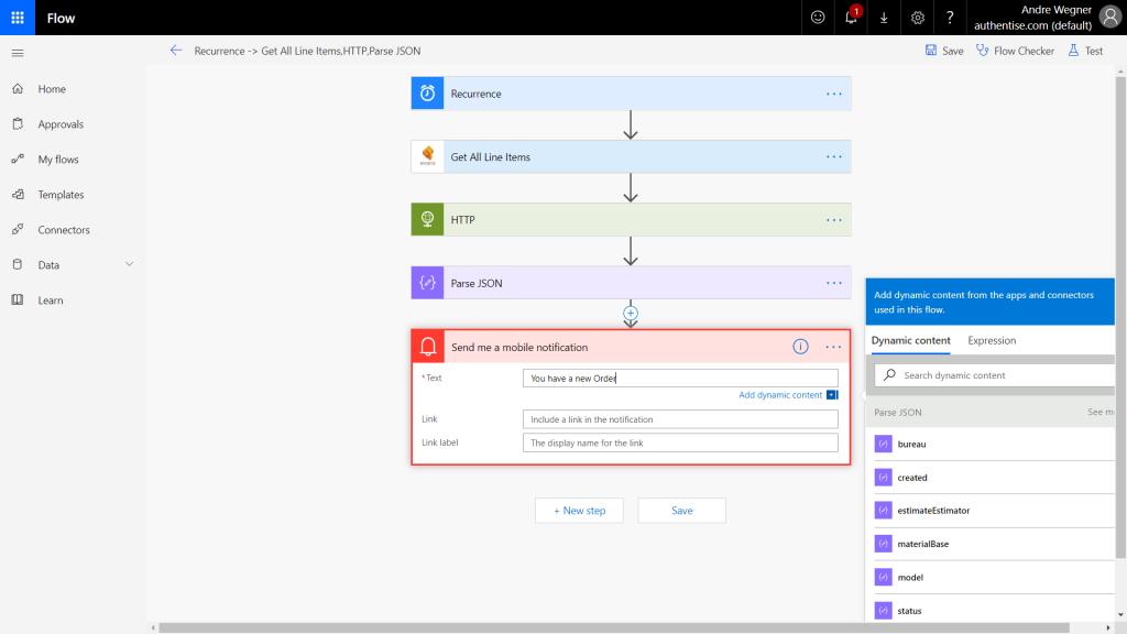 Example Microsoft Flow Authentise task. Image via Authentise