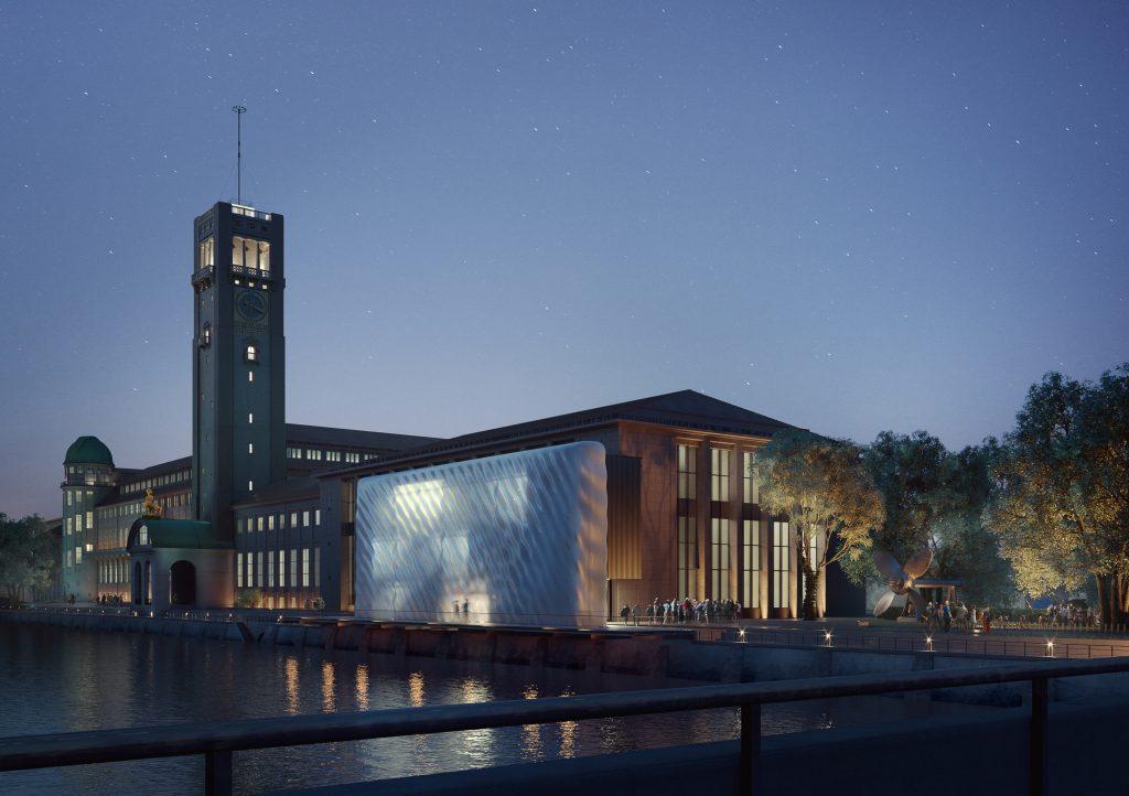 Nocturnal view of the Deutsches Museum with translucent entrance facade. Illustration by Architekten Schmidt-Schicketanz und Partner GmbH/3F Studio, Visualisierung: nuur.nu