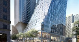 The iconic, curved design of the new Rainier Square Tower opening 2020. NBBJ rendering by Atchain
