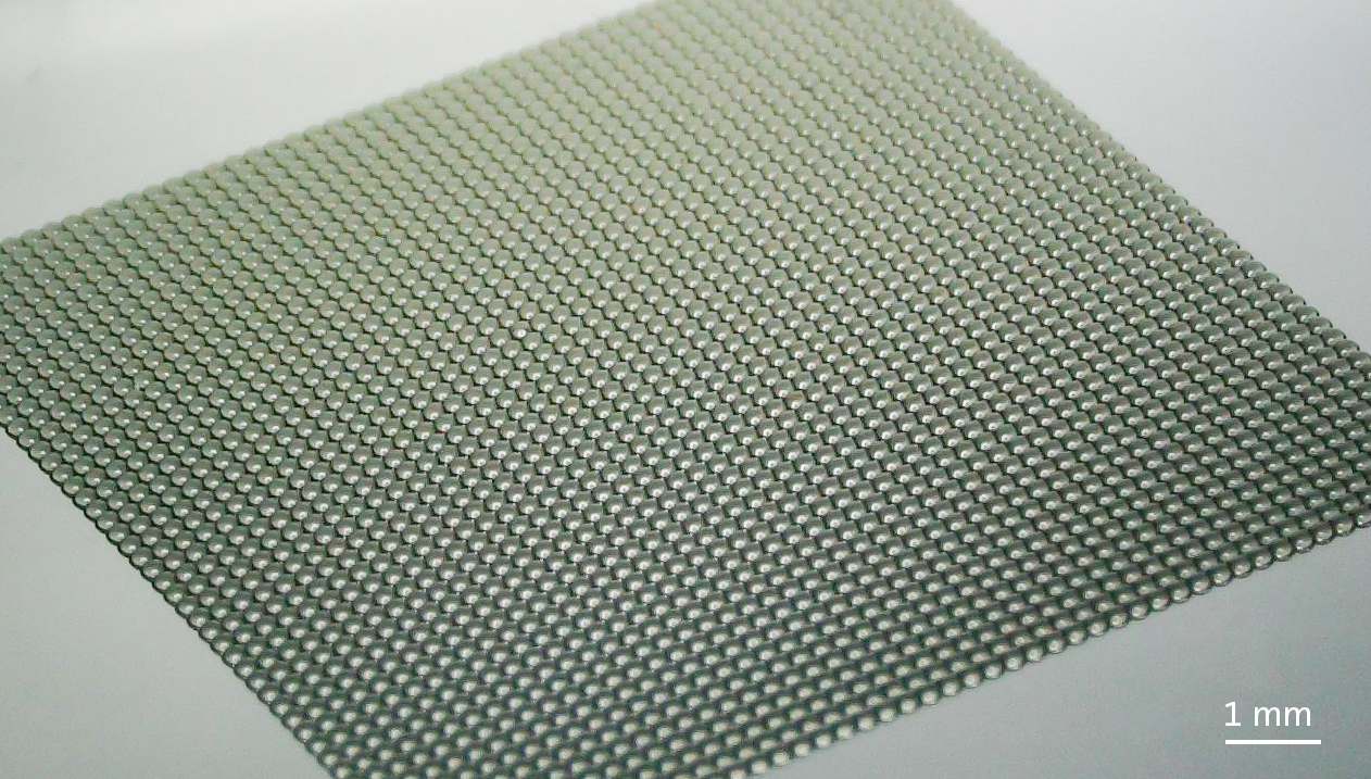 A 3D printed polymer master microlens array. Photo via Nanoscribe.