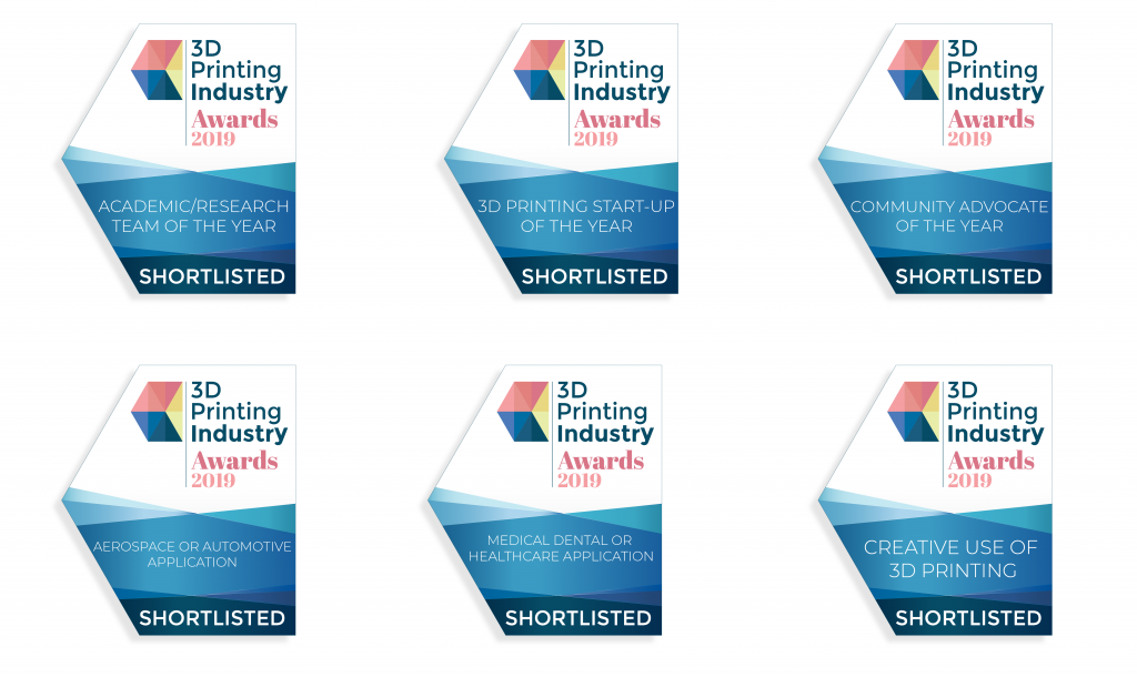 Some of the categories in the 2019 3D Printing Industry Awards.