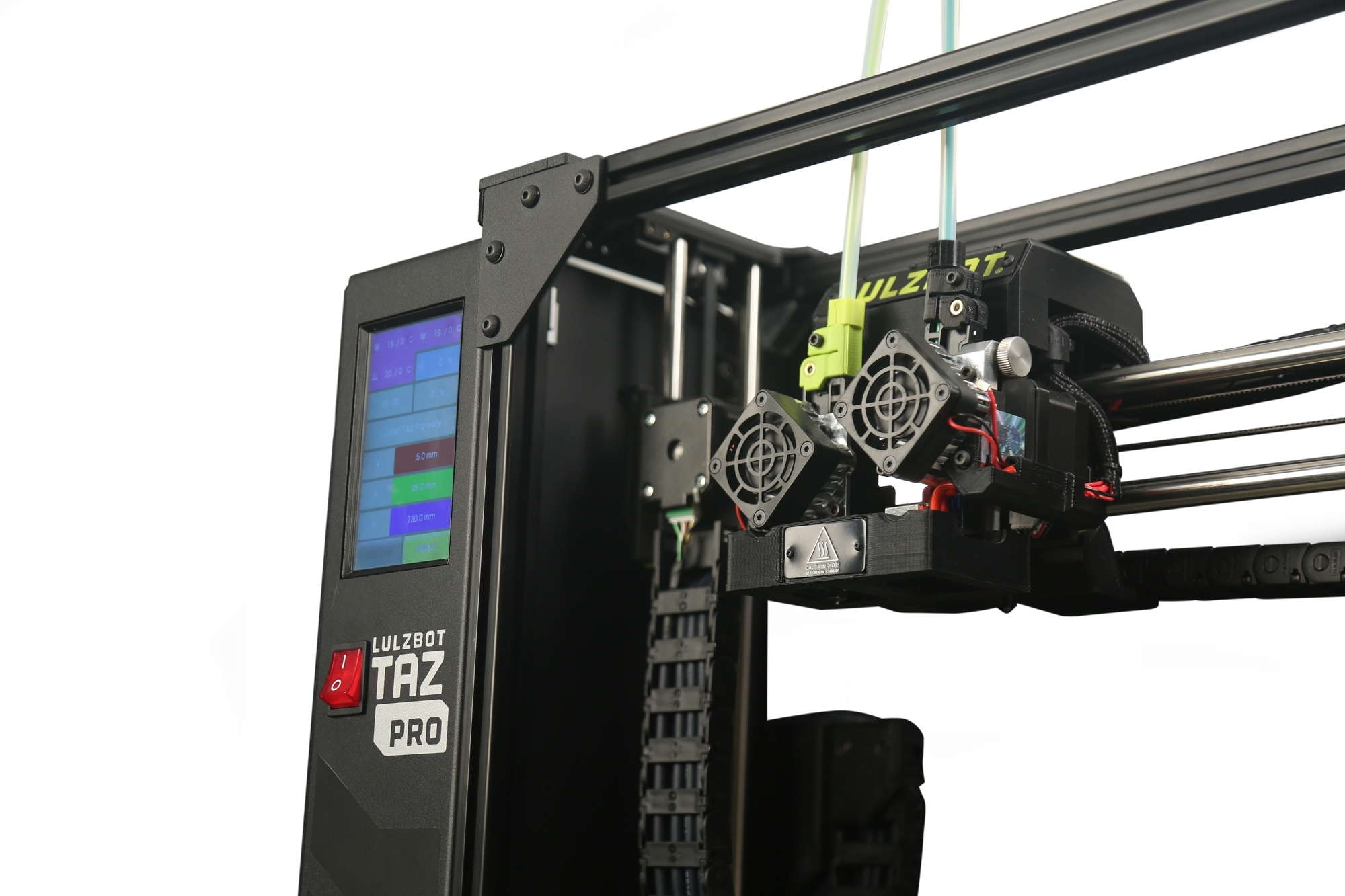 The new LulzBot TAZ Proactive-lifting hot ends and touch screen. Photo via Aleph Objects.